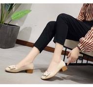 🎀รองเท้าผู้หญิง รองเท้าคัชชู ส้นสูง สีดำ /สีแดง/สีครีม/กำมะหยี่้ รองเท้าส้นสูง F 034 🎀