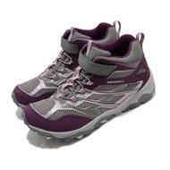 【MERRELL】戶外鞋 Moab FST Waterproof 童鞋 登山 越野 運動 魔鬼氈 耐磨 中大童 紫 灰(MK164172)