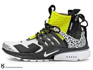 [26cm] 2018 第二彈 德國機能服裝品牌 ACRONYM x NIKE AIR PRESTO MID DYNAMIC YELLOW 白黑 螢光黃 文字迷彩 拉鍊 魚骨鞋 慢跑鞋 (AH7832-100) !