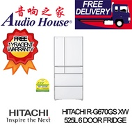 HITACHI R-G670GS XW 525L 6 DOOR FRIDGE ***1 YEAR WARRANTY BY HITACHI *** FREE DELIVERY ***