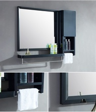 Stainless steel bathroom mirror bright black bathroom wall mirror with shelf side cabinet side cabinet(fragile item)