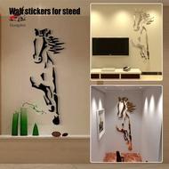 Galloping Horse Mirror Wall Sticker Modern Creative Design Wall Decals 3D Acrylic Mirror Surface Living Room Decor