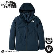 《低溫特報》【The North Face 男 FL兩件式防水鵝絨保暖外套《海軍藍》】4N9T/防水透氣連帽三合一外套/衝鋒衣