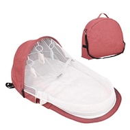 MiyaSudy Foldable Travel Bassinet Portable Foldable Baby Bed Baby Nest Bed Bassinet Mattress Diaper Bag Mummy Backpack 0-12M (M, Pink)