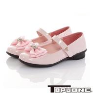 TOPUONE童鞋 傳統手工鞋蝴蝶結水鑽減壓公主皮鞋-粉