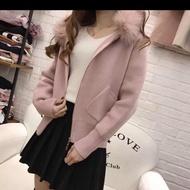 狐狸毛口袋針織外套粉色