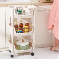 3 Tier Trolley Rack with Wheels Kitchen Rack Trolley Organizers Nordic Beige Home Storage Kitchen Trolley with Wheel
