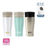 【IKUK艾可】陶瓷保溫杯大彈蓋520ml保溫瓶(大容量單手開蓋開車必備)