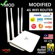 MOD Modified 4G LTE Wireless WiFi Router Modem 4 Antenna Wi-Fi Unlocked Version RJ45 Ports&Sim Card Slot for Unlimited package Supports umobile/celom/maxis/digi/yes/xox/tune//webe/redone