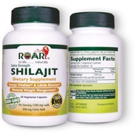 Roar HIGH Potency SHILAJIT 1200mg per dose (600mg Fulvic Acid - 50% Extract) Ayurvedic Energy Revitaliser and Helps in Weight Management 60 Capsules