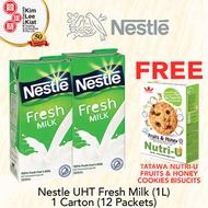 [ 1 CARTON] NESTLE UHT FRESH MILK  (1L) + FREE 1PKT TATAWA COOKIES