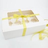 【純白12格裝-8入下標區】開窗12粒 杯子蛋糕盒 6寸芝士蛋糕盒 包裝盒 馬芬盒 6寸 蛋糕盒 布丁盒 蛋塔盒 餅乾盒 奶酪