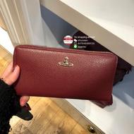 英國代購 Vivienne Westwood 女士荔枝紋皮革長款拉鏈錢包拉鏈夾長夾皮夾 12卡