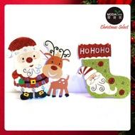 摩達客 聖誕金蔥彩繪LED電池燈吊飾對組-聖誕老公公麋鹿+聖誕襪(一組兩入)