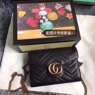 實拍*Gucci 古馳 女包雙G Marmont BOX小方包 單肩斜挎鏈條包474575 女士包包 小包 多卡位皮夾