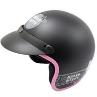 黑色kitty半罩式安全帽贈強化抗uv短鏡片贈6入安全帽內襯套