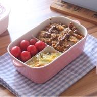 耐熱日式便當盒帶蓋分隔陶瓷飯盒微波爐專用三分格保鮮盒長方形