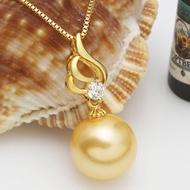 羽翼天使項墜 南洋金珠天然貝珠母貝珍珠吊墜 925純銀鍍金女項鏈1入