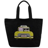 【KARL LAGERFELD 卡爾】老佛爺貓咪計程車厚帆布折疊大購物包(黑)