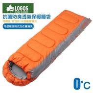 【日本 LOGOS】0℃ 加長加大抗菌防臭丸洗透氣保暖寢具睡袋.適登山露營(桔 72600890)