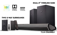 """Nakamichi Shockwafe Elite 7.2.4 Ch 800W Dolby Atmos Soundbar with Dual 8"""" Subs (Wireless), Two 2-Way Rear Speakers & Dolby Vision"""