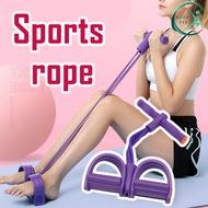 KEEP FIT ยางยืดออกกำลังกาย เชือกออกกำลังกาย เชือกดึง ยางยืดออกกำลังกาย แบบสายแรงต้าน 4 สายแรงต้าน เชือกดึงออกกำลังกาย พิลาทิส แบบมีที่เหยียบและด้ามจับโฟม Pilates
