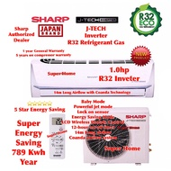 Sharp R32 J-Tech Inverter AHX9VED2 & AUX9VED2 1.0hp Inverter Split Air Conditioner R32 Aircond - 5 Star Energy Saving