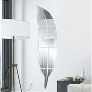 【2021 hot】Acrylic Mirror Stickers Feather Mirror Stickers3dThree-Dimensional Wall Stickers Toilet Decorative Wallpaper S