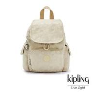 【KIPLING】奶油鬆餅色拉鍊掀蓋後背包-CITY PACK MINI
