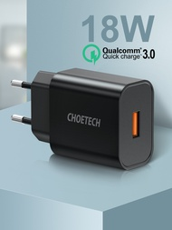 CHOETECH Quick Charge 3.0 18W USB Wall ChargerสำหรับXiaomi IPhone 12 Fast Charger QC3.0อะแดปเตอร์สำหรับSamsung Note 10 9 Charger