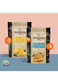 The Golden Duck [BUNDLE OF 6] 3 x Salted Egg Fish Skin & 3 x Salted Egg Potato Ridges