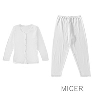【MIGER密格內衣】大尺碼長袖孝親服/衛生衣+褲一套-台灣製-(編號:3890+3308)