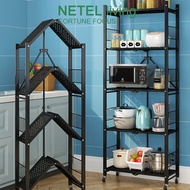 [NETEL  Ready stock]NETEL Kitchen Rack Stainless Steel Foldable Storage Rak Wheeled Microwave Rack
