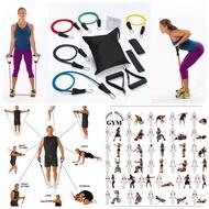 "[Home Gyms]ชุดยางยืดออกกำลังกาย Resistance Band Sets 11 PCS เครื่องออกกำลังกายเสริมความต้านทานชุดสายยางโยคะพิลาทิส ABS ยางออกกำลังกายยางยืดออกกำลังกาย(42 ""ยาวและเส้นผ่านศูนย์กลางประมาณ 1/2 '')"