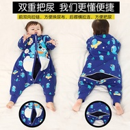 兒童分腿睡袋春秋冬薄棉嬰兒防踢被寶寶睡袋可拆袖大童連體睡衣