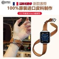 ใหม่ใช้ Iwatch6นาฬิกาแอปเปิ้ลคู่สายบาง Applewatch5-4 Hermes หนัง40-44มม