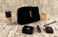 現貨YSL專櫃贈品經典奢華刺繡Logo 金拉鍊帆布化妝包 收納包 配合雜誌出版用 手機包  皮包