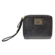【COACH】F48082 真皮字母塗鴉LOGO純色折疊式錢包/手拿包(黑色)