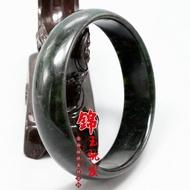 •超夯•新品墨綠玉手鐲女士款玉石首飾鐲子蛇紋石玉手鐲藍田玉鐲手環飾品