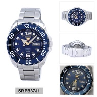 Seiko 5 Sports Baby Monster Business Mens Analog Blue Dial Silver Band Stainless-Steel Bracelet Stainless-Steel Case Automatic 100 Meter 10 Bar Water Resistance SRPB37J1