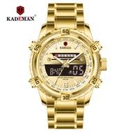 Kademan Cadman Men Men's multi function LCD display electronic watch sports water steel band k6173g