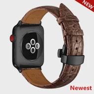 ฝรั่งเศสสายหนังจระเข้สำหรับ Apple Watch Band 42มม.38มม.สายนาฬิกาสร้อยข้อมือ IWatch Series 3 4 5 se 6 Band 44มม.40มม.