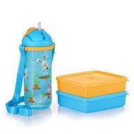Happy Bunny Lunch Set Tupperware Original 🔥 Ready Stock ✔️ Bekal Set budak Botol Air Budak Set sekolah budak Kid Tumbler