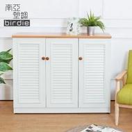 【南亞塑鋼】4尺三門塑鋼百葉鞋櫃(原木色+白色)