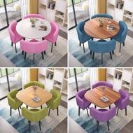 洽談桌談判洽談會客桌椅組合4人特價休閒創意接待小圓桌簡約奶茶甜品店SUPER SALE樂天雙12購物節