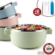 大號泡麵碗 帶蓋304不銹鋼日式碗吃飯 學生泡麵碗筷套裝