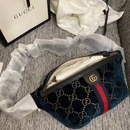 全新正品 GUCCI 574968 GG Velvet Belt Bag 天鵝絨 絲絨 腰包 胸口包 藍色