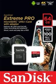 SanDisk 64GB 64G microSDXC【100MB/s Extreme Pro】microSD micro SD SDXC UHS 4K U3 C10 A1 V30 原廠包裝 手機記憶卡