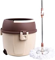 mops System Microfiber Rotating Mop And Bucket, Rotating Mop Stainless Steel Rotating Mop, Brown