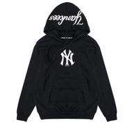 MLB-洋基印花連帽厚T恤-黑(男)
